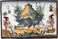 The ancient Toltec city of Tula, highly respected by the Aztecs as the birth-place of the arts, Codex Tovar, pl. II
