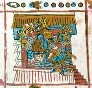 Xochipilli ('Flower Prince'), God of poetry, music, summer... Codex Vaticanus 3773, p. 10