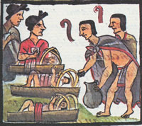 Pic 7: Families gathering for the Aztec festival of Izcali, Florentine Codex, Book 2: pulque time...!!