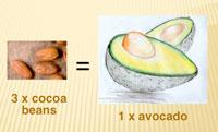 3 cocoa beans = 1 avocado