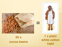 65 cocoa beans = 1 plain white cotton cape