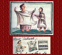Selling cloaks, Florentine Codex