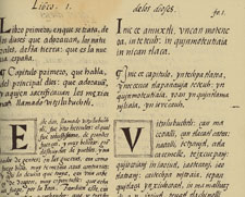 Book 1, Chapter 1, page 1 of the Florentine Codex (Spanish, left, Náhuatl, right)