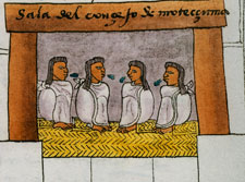 Elders speaking Náhuatl, Moctezuma's Council chamber, Codex Mendoza folio 69r
