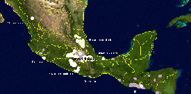 Map showing main regions of Mexico where Náhuatl is spoken today