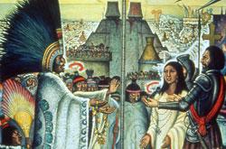 The meeting between Moteuczoma and Cortés, with Doña Marina interpreting