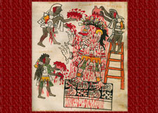 Pic 12: A Tzitzimitl is offered blood in return for the wellbeing and health of the Aztec people. Codex Tudela folio 76