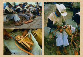 Traditional sandal ('huarache') making is still a thriving craft in Mexico