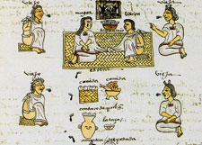 Pic 3: Marriage, the couple sitting on a petate. Codex Mendoza