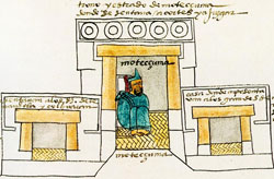 Pic 4: Moctezuma sitting on a petate in his palace. Codex Mendoza