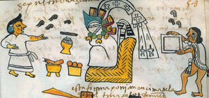 Burying a dead person in a petate - notice the man crying (right); Codex Tudela, folio 58