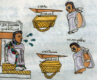 Pic 6: A public works official orders two youths to work - and warns them against slacking! Codex Mendoza, folio 70r