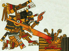 Pic 7: Rain god Tlaloc using his digging stick to cultivate corn - detail adapted from Codex Borgia, plate 20