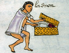 Thief raiding a family chest, Codex Mendoza, folio 70r