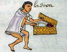 Thief raiding a family chest, Codex Mendoza, folio 70r