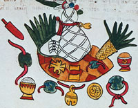 Treasure in an Aztec mummy/death bundle; Codex Magliabecchiano, p. 68r. Can you spot the precious green stones on strings?