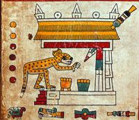 A thief in the guise of the jaguar raiding a temple, Codex Fejérváry-Mayer, p. 26