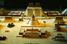 Pic 5: Temple to the wind god in the centre of the Sacred Precinct of Tenochtitlan: model in the National Museum of Anthropology
