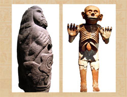 Pic 9: Quetzalcóatl-Ehécatl and Mictlantecuhtli: figures in the National Museum of Anthropology and Templo Mayor Museum, Mexico City
