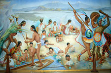 Pic 3: Stylized image of Aztec daily life: detail of mural by Regina Raúll 'Paisaje Mexica', 1964, National Museum of Anthropology, Mexico City