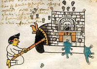 Pic 6: Aztec 'temazcalli' bathhouse; Codex Tudela folio 62r