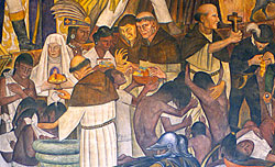 Pic 11: Diego Rivera's critical view of the role of the Spanish church in Colonial Mexico - part of his mural of Mexican history, National Palace, Mexico City
