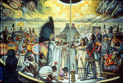 Pic 14: The meeting of Spanish and Aztecs outside Tenochtitlan - a folding screen mural by Roberto Cueva del Río