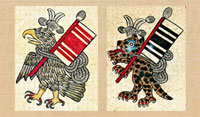 Pic 2: Eagle and jaguar warriors, adapted from the Codex Borbonicus, folio 9