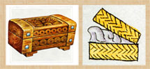 Pic 6: Wooden coffer, reed basket (adapted from Codex Mendoza)