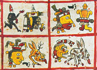 Pic 10: Detail from the ritual calendar round, Codex Cospi, p. 3