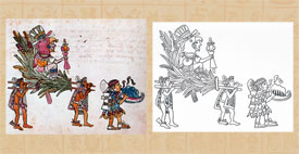 Xochipilli impersonator led by conch trumpeter, Codex Magliabechiano p.35 (left); version by Abel Mendoza (right)