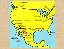 Map of Mexico and the USA showing the Copper Canyon region