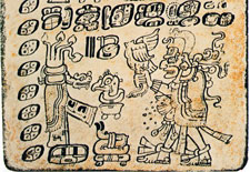 Bolon Yokte K'u may be represented here (Codex Dresden, Villacorta edition, p. 28); the deified crocodile-tree (left) is the Milky Way