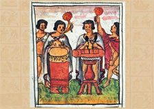 Huehuetl and teponaztli players at the centre of birth celebrations, Florentine Codex Book 4