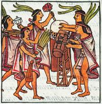 Aztec singers/dancers/musicians, Florentine Codex Book 4