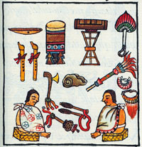 Instruments in the Emperor's palace store, Florentine Codex Book 8