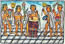A huehuetl drummer leads a group of Aztec singers, Florentine Codex Book 9