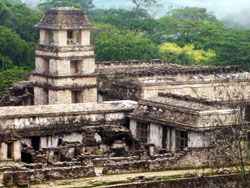 The ruined ancient Maya site of Palenque, Mexico