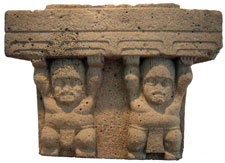 Olmec stone altar with human figures supporting the waters of the earth, Xalapa Museum of Anthropology, Mexico