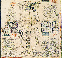 The World Tree emerging from the sacred body of the maize god, Codex Dresden (Villacorta edition), p.3