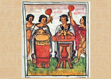 Aztec musicians playing drums and rattles, Florentine Codex Book 4