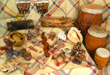 Assembled copies of Aztec wind and percussion instruments (private collection)