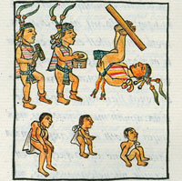 Musicians are joined by acrobats and dwarves at an Aztec palace banquet; Florentine Codex Book VIII