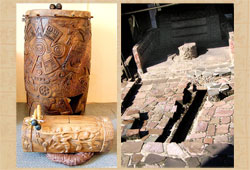 Prize-winning replica Aztec drums; part of the ruins of the 'Red Temples', Templo Mayor Museum, Mexico City