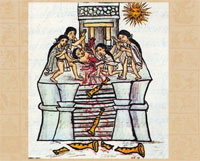 Breaking of clay flutes - part of an annual ceremony in honour of Tezcatlipoca; Florentine Codex