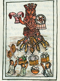 Pic 8: 'When it was her [the maize goddess's] feast day they gave her human form; they laid all before her...' (Florentine Codex Book 2)