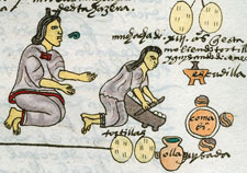 An Aztec mother teaching her daughter to use the metate and comal (griddle) to make tortillas, Codex Mendoza