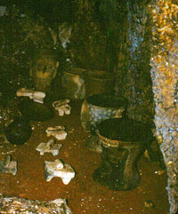 Ancient metates among other artefacts found in a cave in the Yucatán peninsula