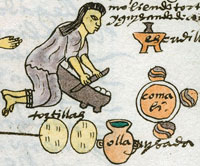 Pic 6: Folio 60r of the Codex Mendoza shows a molcajete alongside metate and comal