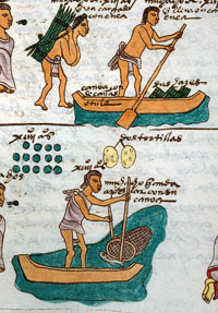 Pic 2: Teenagers hard at work fetching provisions for the home. Codex Mendoza, folio 60r